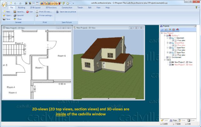 software fr hausplanung d rendering of an model of a. Black Bedroom Furniture Sets. Home Design Ideas