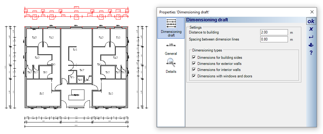 Automatic dimensioning drafts