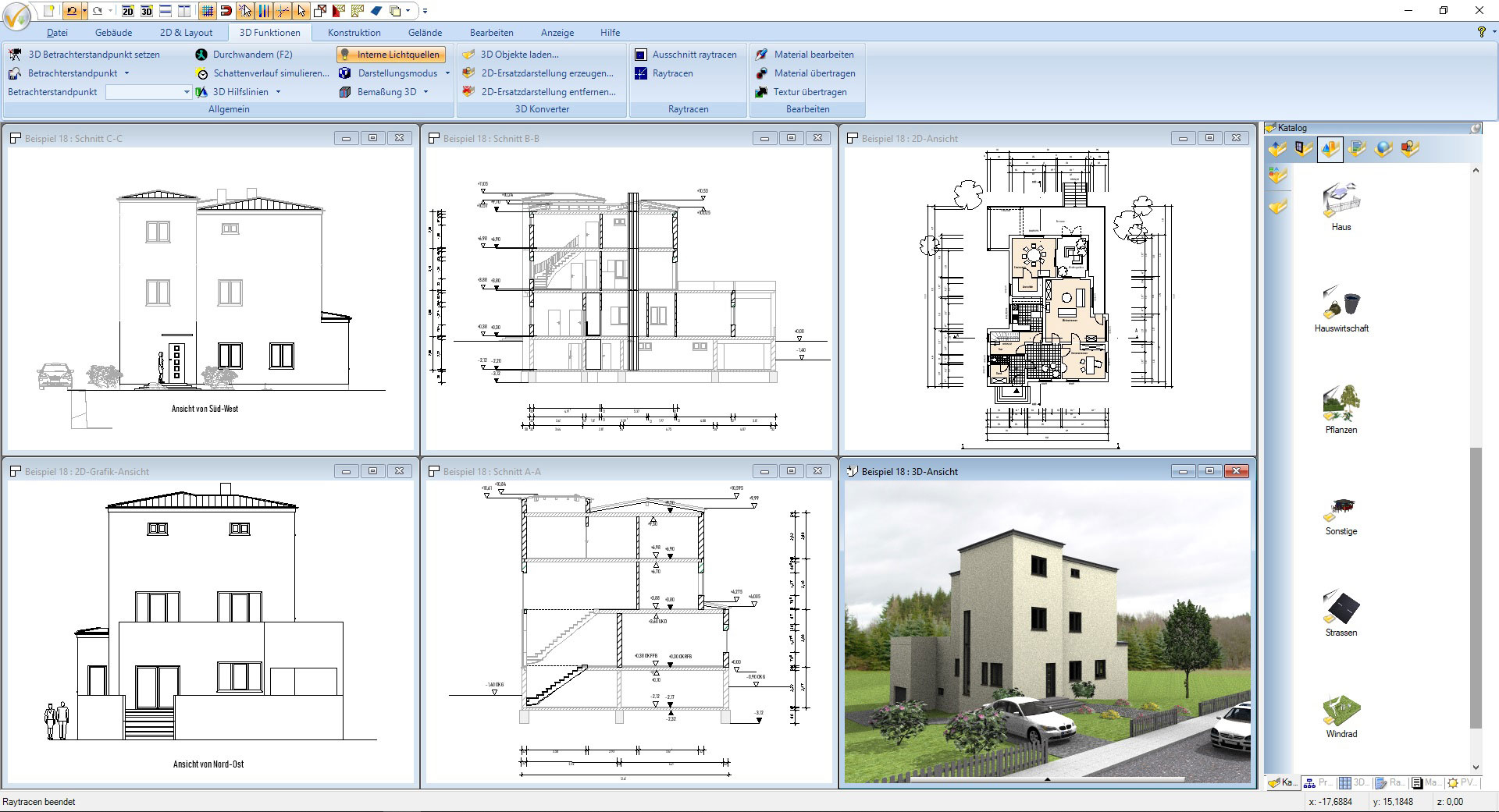 Screenshot CAD Software für Architektur - modernes Mehrfamilienhaus