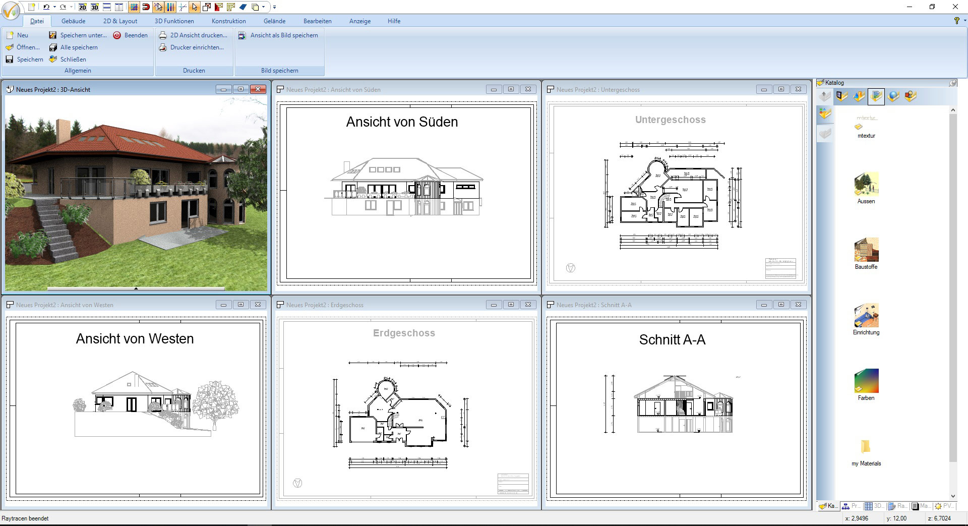 Screenshot CAD Software für Architektur - Projekt Einfamilienhaus