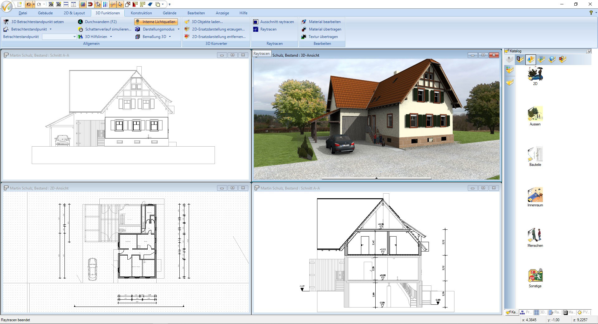 Screenshot CAD Software für Architektur - Projekt Landhaus