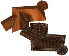Paisagem complexa de telhados