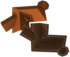 Komplexe Dächer einer Dachlandschaft verschmelzen
