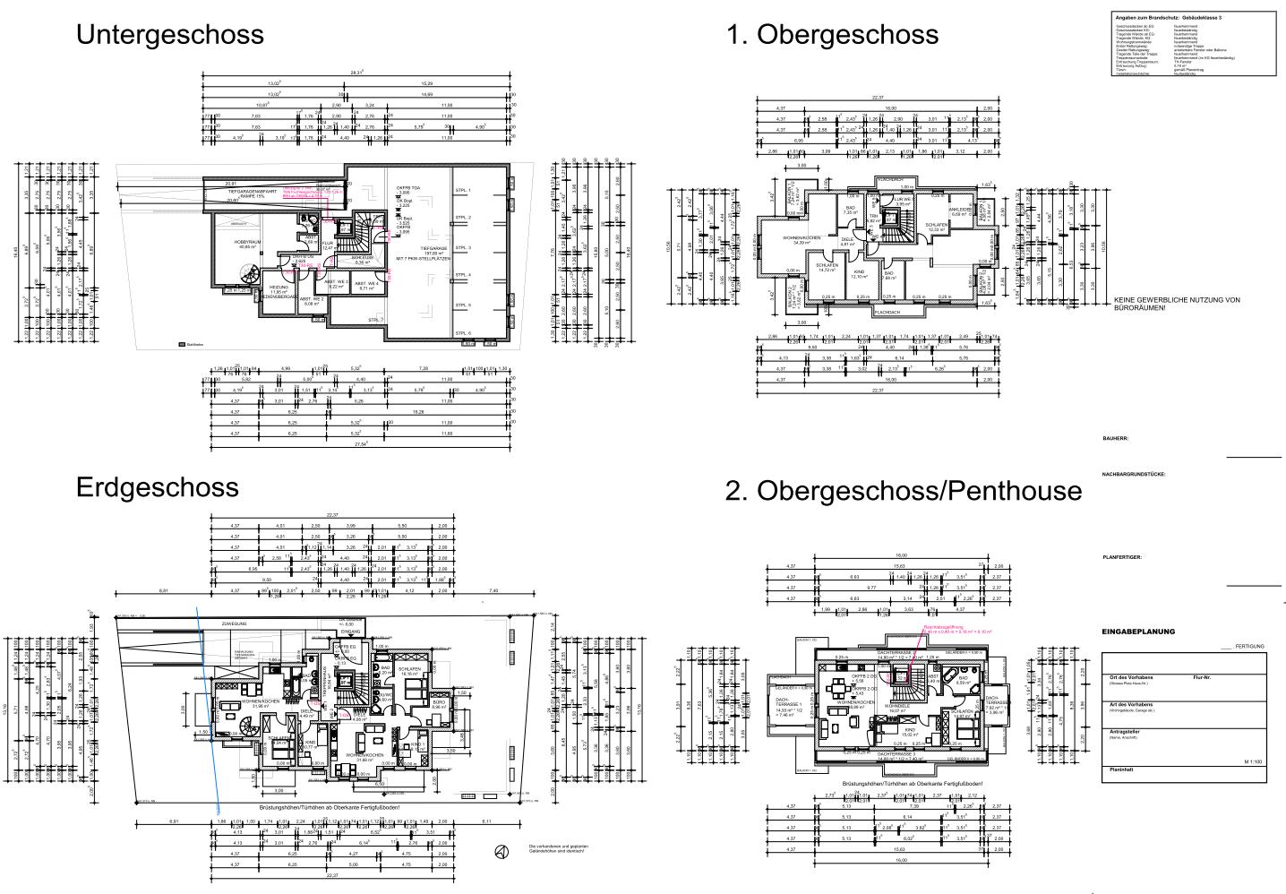 Eingabeplan für Bauantrag