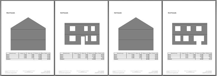 Fassadenfläche Auswertung