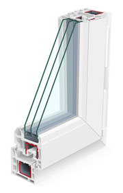 Window profile section / triple glazed