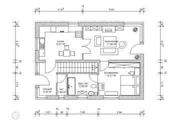 Exposéplan mit Vermaßung, Raumflächenberechnung und Muster-Einrichtung
