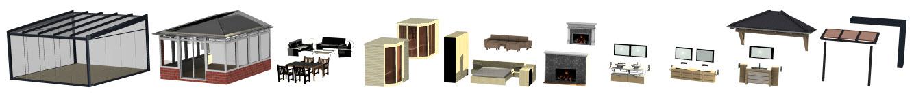 Bäder, Sauna, Wintergarten, Sitzgruppen in 3D