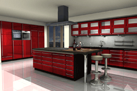 Kitchen with red front