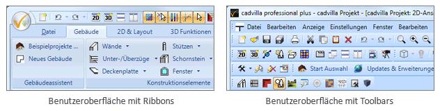 Ribbon und Toolbar Darstellung im Vergleich