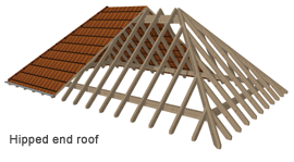 Hipped end roof