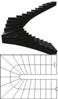 U-stairs, half-wound