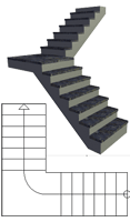 Quarter-turn staircase with landing